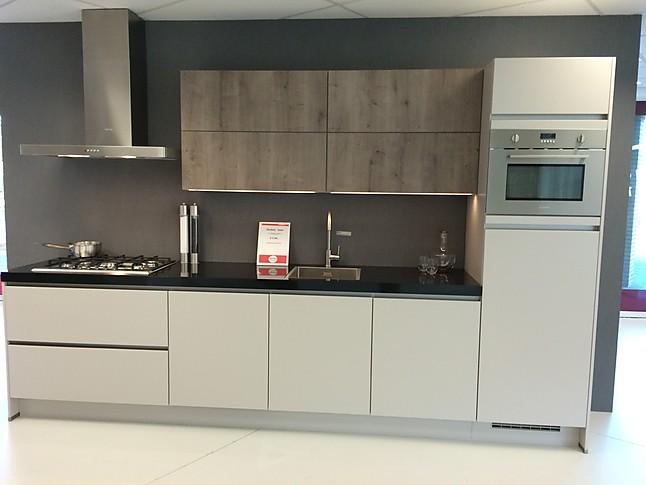 Nobilia showroomkeuken modern keukenblok in zandkleur met