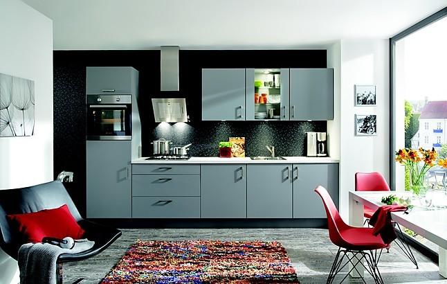 Overige showroomkeuken met grijze gladde fronten showroomkeuken