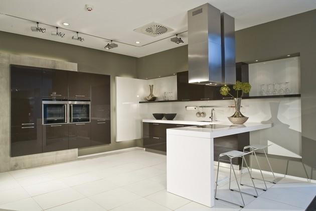 Keuken L Vorm Met Bar : vormige keuken met bar – sepia bruin met wit