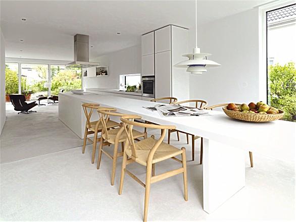 Design keuken b1 wit met verlengde bar als eethoek (bulthaup)
