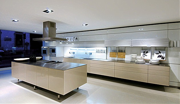 Keukeneiland Verlichting : Greeploze design keuken b3 met kookeiland in hoogglans beige (bulthaup