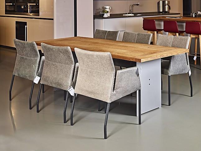 Rvs Onderstel Tafel : Eettafels 6 leren stoelen tafel dana eiken met rvs onderstel 250