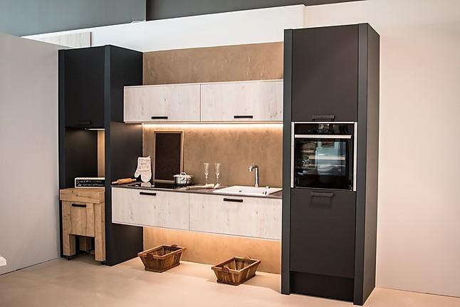 Overige showroomkeuken compacte moderne zwart witte keuken