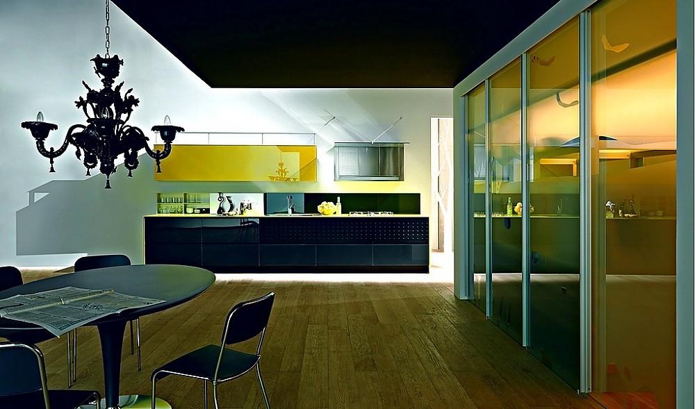 Design keuken riciclantica vetro hoogglans zwart en geel