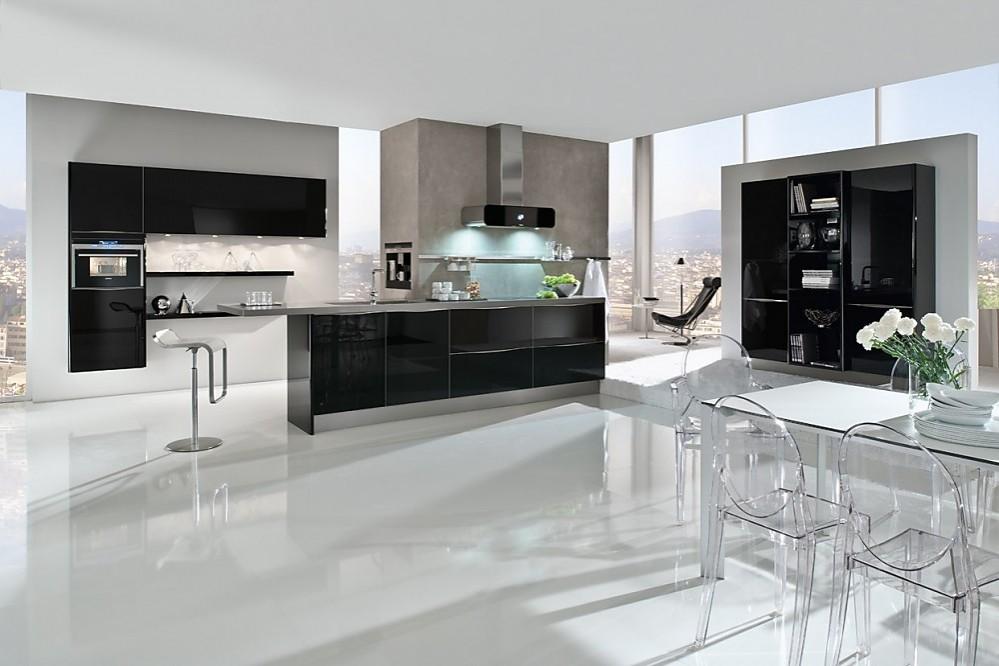 Keuken Kookeiland Zwart : Edele keuken met fronten van zwart designglas