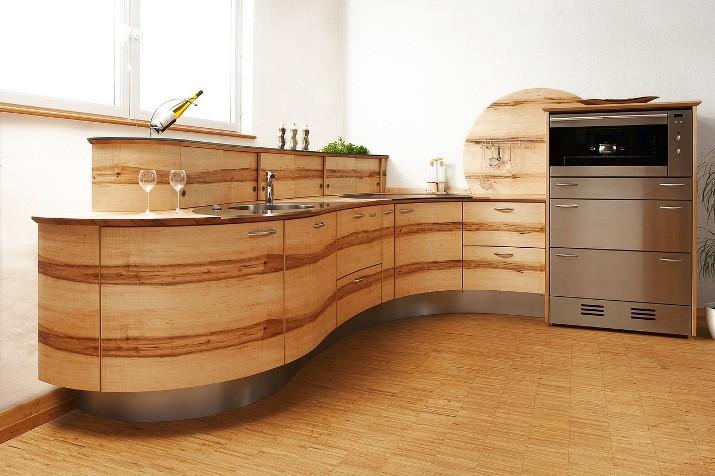 Massief Houten Keuken : Golf inbouwkeuken van pfister met ronde vorm