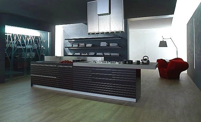 Keuken artematica vitrum grijs, zwart met rode stippen