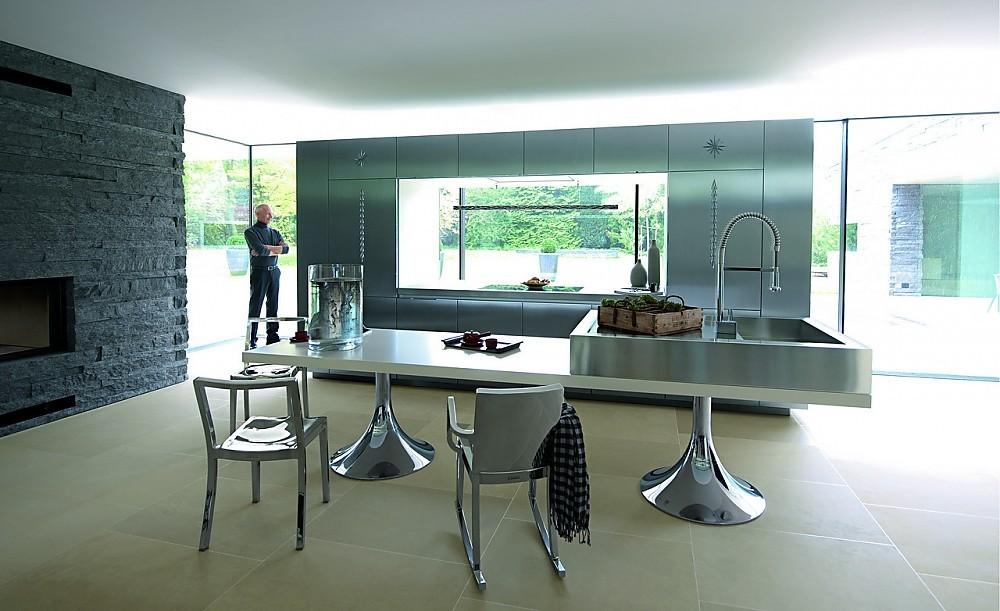 Starck by warendorf roestvrij stalen spoelbak op tafel - Tafel design keuken ...