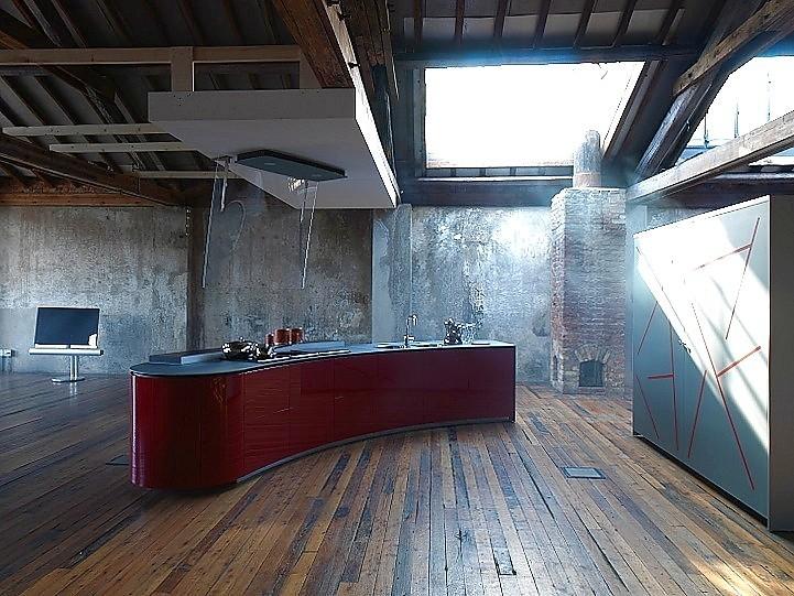 Design keuken alessi volo in hoogglans rood