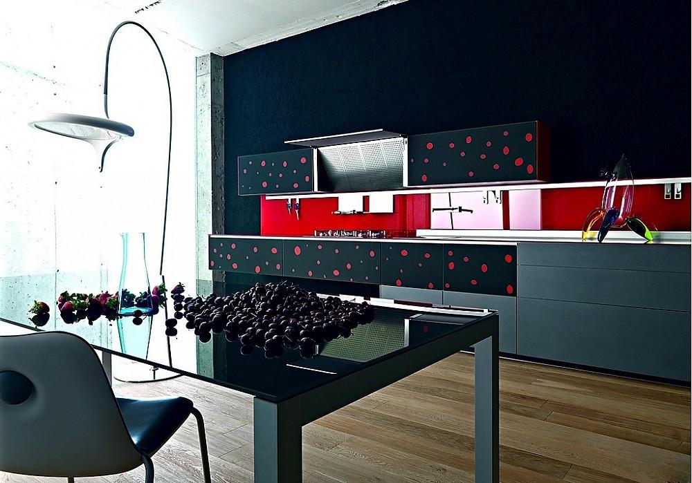 Zwart Grijs Keuken : Keuken artematica vitrum grijs zwart met rode stippen