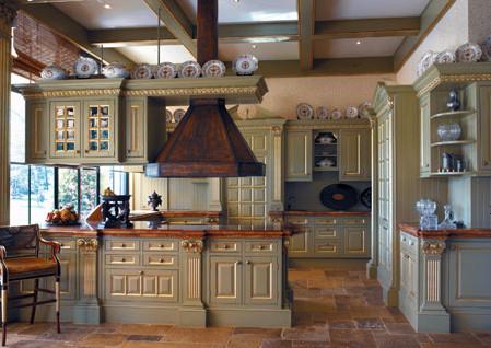 Landelijke keuken adellijk engelse koloniale stijl - Oude stijl keuken wastafel ...