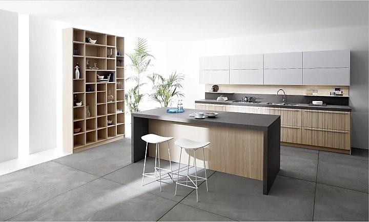 Keuken Bar Muur : Eilandkeuken met materiaalmix