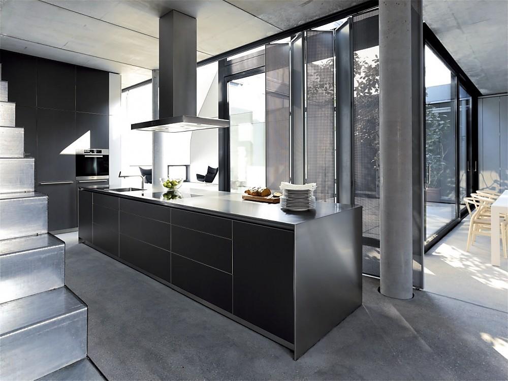 Keuken Kookeiland Zwart : Design eilandkeuken b roestvrij staal en zwart