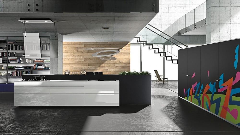 Greeploze design keuken b3 met kookeiland in hoogglans beige