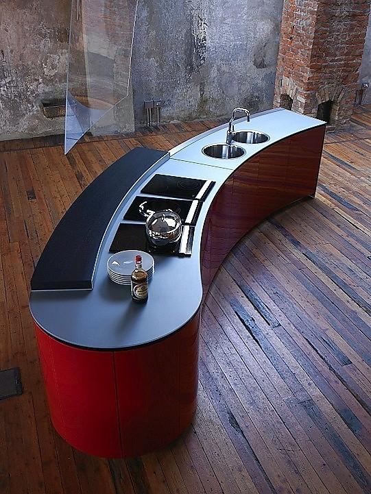 Keuken Rood Grijs : Design keuken Alessi Volo in hoogglans rood (Valcucine Keukens)
